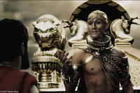 Xerxes (Rodrigo Santoro) attempts to ply Leonidas (Gerard Butler) with promises of wealth and power in