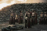Astinos (Tom Wisdom), Leonidas (Gerard Butler) and his Captain (Vincent Regan) look toward the Persian encampment as a wall of the day's dead rises behind them in