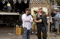 Director Walt Becker and Paul Teutul Sr. on the set of the film