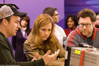 Director Will Speck, Jenna Fischer and director Josh Gordon on the set of