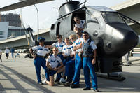 The Reno Sheriff's Department pose in front of their newest law enforcement tool: a fully-equipped gunship in