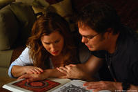 Kathryn Hahn as Naomi Schwartz and Rainn Wilson as Larry White in