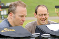 Director Bob Odenkirk and producer Matt Berenson on the set of