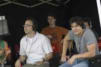 Director David Wain and Ken Marino on the set of