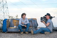 Emile Hirsch and director Sean Penn on the set of
