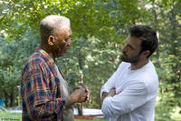 Morgan Freeman and director Ben Affleck on the set of