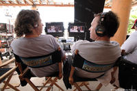 Directors Bobby Farrelly and Peter Farrelly on the set of