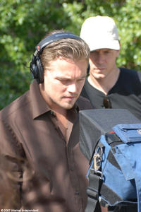 Leonardo DiCaprio on the set of
