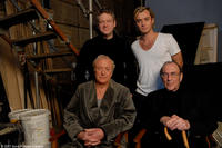 Director Kenneth Branagh, Jude Law, Michael Caine and screenwriter Harold Pinter on the set of