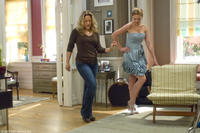 Director Anne Fletcher choreographs a few steps for Katherine Heigl on the set of