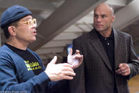 Director David Mamet and Randy Couture on the set of