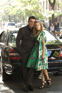 Christopher Noth as Mr. Big and Sarah Jessica Parker as Carrie Bradshaw in