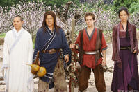 Silent Monk (Jet Li), Lu Yan (Jackie Chan), Jason Tripitikas (Michael A. Angarano) and Golden Sparrow (Crystal Liu) in