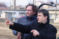 Cinematographer Oleg Mutu and director Cristian Mungiu on the set of