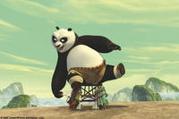 Giant panda Po (Jack Black) tries extreme measures to get inside the ceremony to choose the next Dragon Warrior in