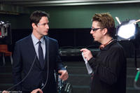 Keanu Reeves and director Scott Derrickson on the set of