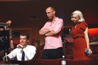 Pierce Brosnan, director Ira Sachs and Rachel McAdams on the set of