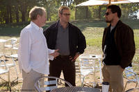 Director Ridley Scott, Russell Crowe and Leonardo DiCaprio on location for