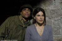 Michael Ealy as Bishop and Valentina Cervi as Renata in