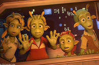 Neera (voiced by Jessica Biel), Lem (voiced by Justin Long), Eckle (voiced by Freddie Benedict) and Skiff (voiced by Seann William Scott) in