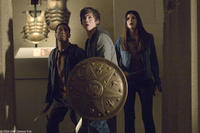 Brandon T. Jackson as Grover, Logan Lerman as Percy Jackson and Alexandra Daddario as Annabeth in