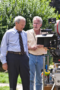 Director Clint Eastwood and director of photographer Tom Stern on the set of