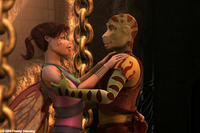 Delgo (voice of Freddie Prinze Jr.) saves Kyla (voice of Jennifer Love Hewitt) in