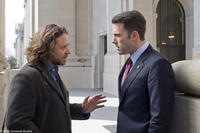 Russell Crowe as Cal McCaffrey and Ben Affleck as Congressman Stephen Collins in