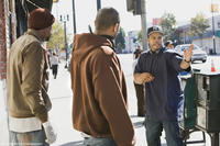 Wood Harris, Mike Epps and director Benny Boom on the set of