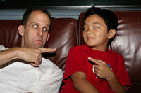 Director Pete Docter and actor Jordan Nagai on the set of