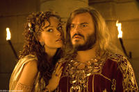 Olivia Wilde as Princess Inanna and Jack Black as Zed in