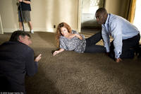 Director Steve Shill, Beyonce Knowles and Idris Elba on the set of
