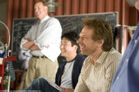 Ed Kashiba and Jerry Bruckheimer on the set of