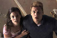 Haley Webb as Janet and Nick Zano as Hunt in