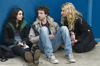 Vanessa Hudgens as Sa5m, Gaelan Connell as Will and Aly Michalka as Charlotte in