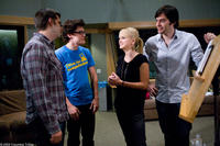 Cast members Anna Faris and Bill Hader on the set of