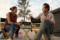 Michelle Monaghan and director-writer James Mottern on the set of