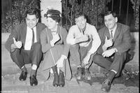 Richard M. Sherman, Julie Andrews, Dick Van Dyke and Robert B. Sherman on the set of