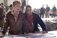 Hilary Swank and director Mira Nair on the set of