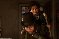 Bob Cratchit and Tiny Tim (voice of Gary Oldman) in