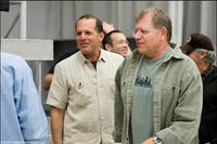 Producer Jack Rapke and writer-director-producer Robert Zemeckis on the set of