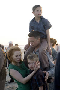 Jessica Chastain as Mrs. O'Brien, Tye Sheridan, Brad Pitt as Mr. O'Brien and Laramie Eppler in ``The Tree of Life.''