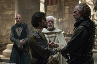 Mark Strong as Godrey, Oscar Isaac as Prince John and William Hurt as William Marshal in