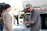 Angelina Jolie and stunt coordinator Simon Crane on the set of