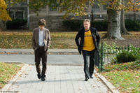 Jesse Eisenberg as Cheston and Michael Douglas as Ben in