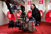 Director Brad Peyton on the set of