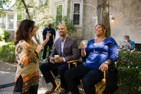 Director Sanaa Hamri, Common and Queen Latifah on the set of
