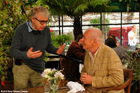 Director Woody Allen and Anthony Hopkins on the set of