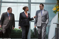 Kevin James as Nick Brennan, Queen Latifah as Susan Warner  and Vince Vaughn as Ronny Valentine in ``The Dilemma.''
