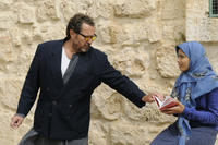 Julian Schnabel and Freida Pinto as Miral on the set of ``Miral.''